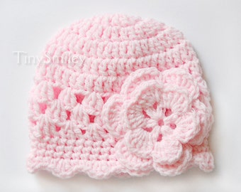 Crochet Baby Girl Hat, Newborn Pink Girl Hat, Pink Baby Girl Hat, Baby Girl, Girls Hats, Newborn, Hospital Baby Hats, Infant Girls Hat, Pink