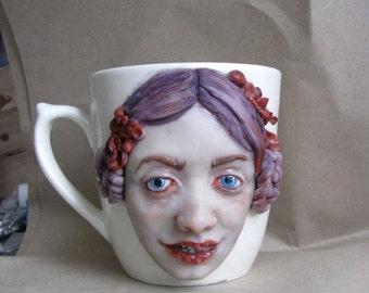 Violet doll. Creepy mug Polymer clay cup Weird mug Strange art Realistic doll face mug Weird art Artisan mug Horror decor Unusual mug oddity