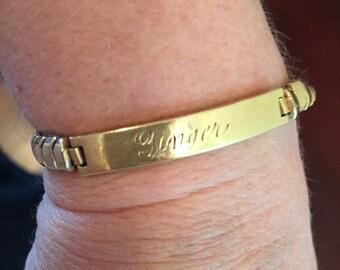 """Gold Flex-Let Stretch Bracelet, 1/15 12KL, Inscribed """"Ginger"""""""