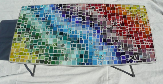 Who needs 50 shades of grey ...  Upcycled Mosaic Coffee Side Table / Colourful / Sparkly / Rainbow / Equality