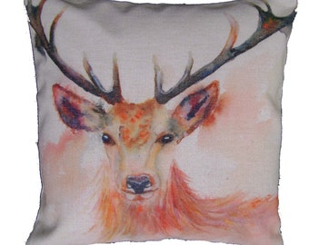"""Beautiful Young Stag, Watercolour Print 17"""" x 17"""" Cushion Cover/Pillow. Quality Linen Blend Fabric."""