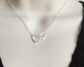 Sterling Silver Floating Heart Necklace. Sterling Silver Infinite Heart. Infinity Necklace. Interlocking Heart Necklace.Mother Daughter.