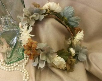 CHELSEA Cream and Light Blue Bridal Flower Crown