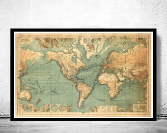 Great Vintage World Map in 1882