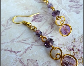 Sweet Plum Beaded Earrings in Goldtone with Wirework, Gold Wire Work Earrings in Purple