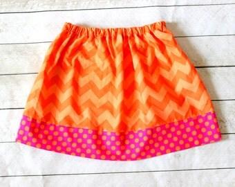 Halloween skirt orange and hot pink chevron skirt chevron and polka dot skirt girls girl toddler halloween clothing