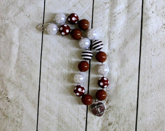 Girls chunky bead football necklace brown white bubblegum necklace football necklace girls chunky necklace cheerleading necklace