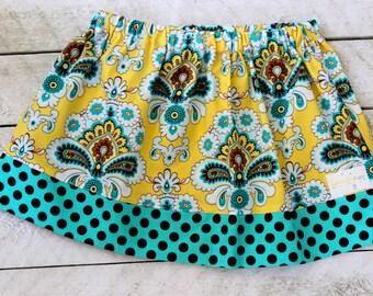 Girls skirt fall skirt for girls Halloween skirt Thanksgiving skirt paisley skirt yellow, aqua, teal brown skirt