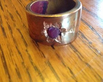 Oval cut ruby copper ring