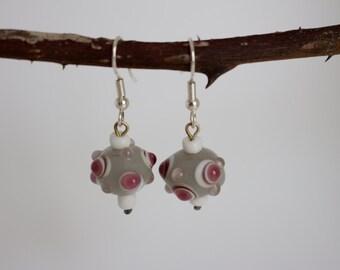 earrings with glass beads (purple)