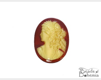 1 pc Cornelian Lady Cameo - Left Side - Czech Glass Cab 30x22 mm (9800)