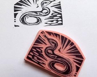 The Snake Rubber Stamp Hand Carved Snake