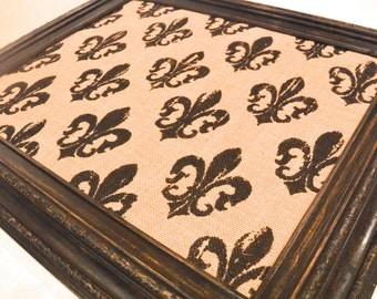 Repurposed & Distressed Black Frame with Fleur de Lis Burlap covered Corkboard