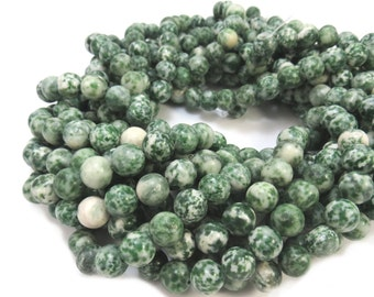 Tree Agate Beads, Natural 8mm Round Beads, 16 inch Strand, 8mm Green Beads, Beading Supplies, Item 567pm