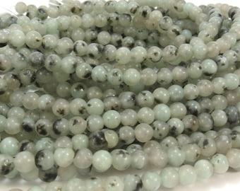 Sesame Jasper Beads, Natural Mint Green Sesame Jasper, 4mm Round Beads, 16 inch Strand, Beading Supplies, Item 627pm