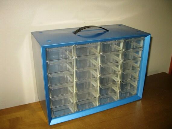 Vintage Akro Mils Metal Cabinet Bin 24 Drawers Organizer