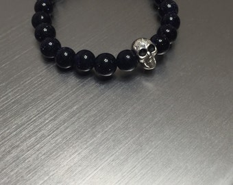 925 Sterling Silver Solid Skull With 8mm Blue Sand Beads Bracelet