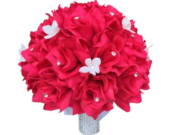 "10"" Hot Pink Bridal Bouquet - Rhinestone and Stephanotis Accents"