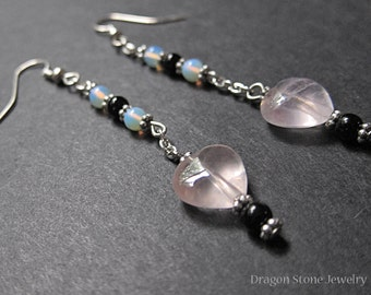 Delicate Rose Quartz Heart Earrings with Opalite and Jet