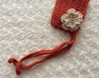 Crochet Newborn Baby Bonnet - MADE TO ORDER - Pumpkin Orange & Khaki