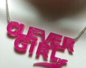 laser cut Acrylic 'CLEVER GIRL' RAPTOR necklace...Jurassic Park!