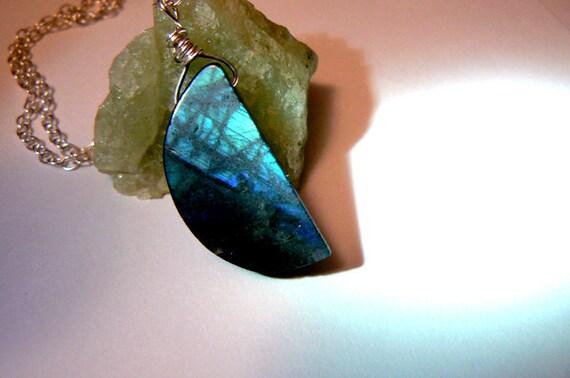 Moon Labradorite pendant- Flashy blue gemstone necklace-Boho moon blue stone pendant sterling silver- Wire wrapped -Romantic women gifts