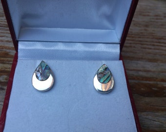 vintage sterling silver teardrop and shell stud earrings
