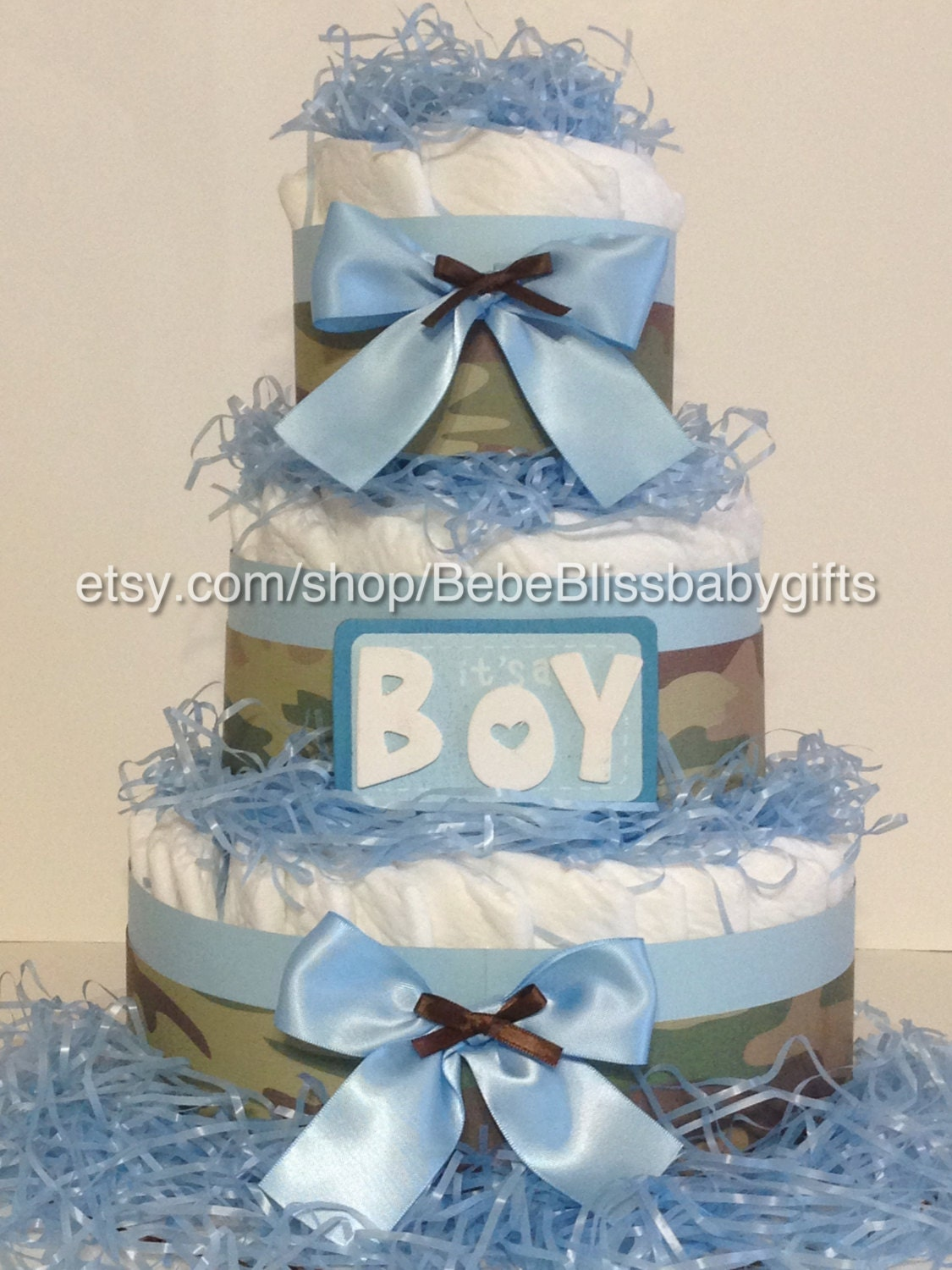 Pampered With A Blue Camo Diaper Cake