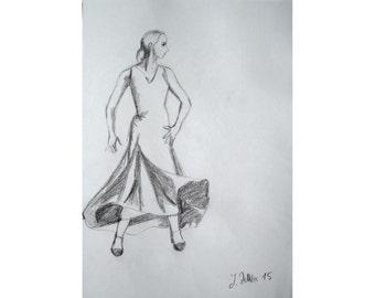 Spanish Dancer - Original Pencil Drawing, Dancing Art