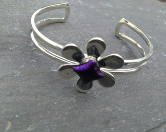 Daisy Bangle Bracelet, Fused Glass & Silver Plate, Handmade, Made in the UK