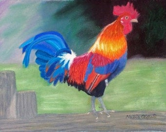 "Rooster - giclee print of original pastel painting 10"" x 8"""