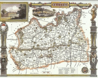 Surrey County Map by Thomas Moule Antique Map County Map Wall Art Historical Map Print Home Decor