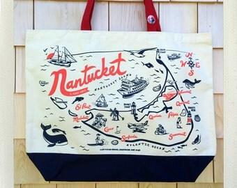 Nantucket Beach Tote • Red & Navy