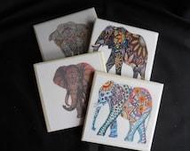 Elephant Coasters ~ Tribal Elephants ~ Table Coasters ~ Colorful Elephants ~ Drink Coasters ~ Indian Decor ~ Painted Elephants ~ Home Decor