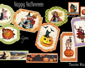 Happy Halloween Tags - digital collage sheet - set of 11 tags- Printable - Download - Scrapbooking - Greeting cards