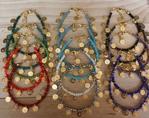 Wholesale LOT OF 15 Turkish Gold Coin Gypsy Bracelets