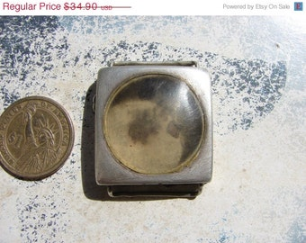 Antique rectangular wrist Watch Body Case in solid silver with crystal  / steampunk supply findings / old watch case parts PW15