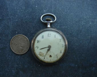 Old Antique pocket watch / Coin silver 0.800 open face Pocket Watch Body Case / Altered Art Assemblage Industrial art steampunk supply PW03