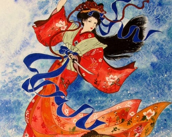 "Japanese art "" Samura lady  in the sea  "" Watercolor on cotton paper"