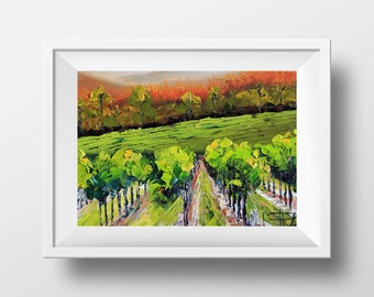 Napa Valley Print, San Francisco Art, Vineyard Giclee Print 11 x 14, Wine Country, Sonoma, Napa Valley Art, Decor, Signed Colorful Print