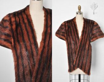 Vintage 1930's 1940's Striped Mink Fur Stole Cape Capelet