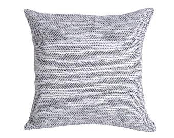 One Woven Blue Grass Cloth Pillow Cover // Sofa Throw Pillow cover // Throw Pillow Sofa // Grey Blue Zippered Pillow Cover-8YR8