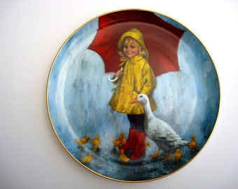 Vintage Collectible Plate - Rainy Day Fun - The World of Children - John McClelland