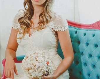 Vintage brooch bouquet, pearls, crystals , satin ribbon .