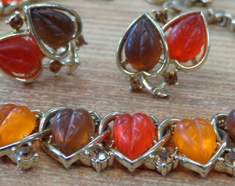 Vintage Necklace and Earrings Signed LISNER Jelly Lucite Orange Brown Gold Tone Fall Jewelry
