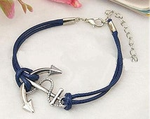 FREE Silver, Anchor Bracelet, Prussian Blue, Cotton Wax Cord Alloy Lobster Claw Clasps