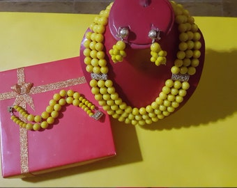1 USD African Yellow necklace, bracelet, earrings jewellery set. Special occasions weddings,.