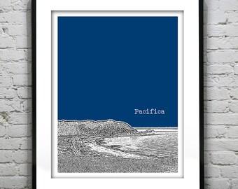 Pacifica Skyline Poster Print Art California CA Beach