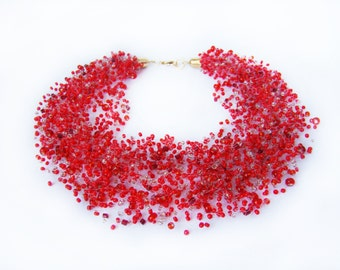 Valentines gift women Red necklace illusion bib bead necklace Airy Crochet Multistrand necklace Invisible Beadwork necklace  Luxury Trendy