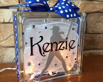 Softball GemLight, Gifts for Softball, Softball Coach Gifts, Fast Pitch Softball, Sports Decor, Personalized